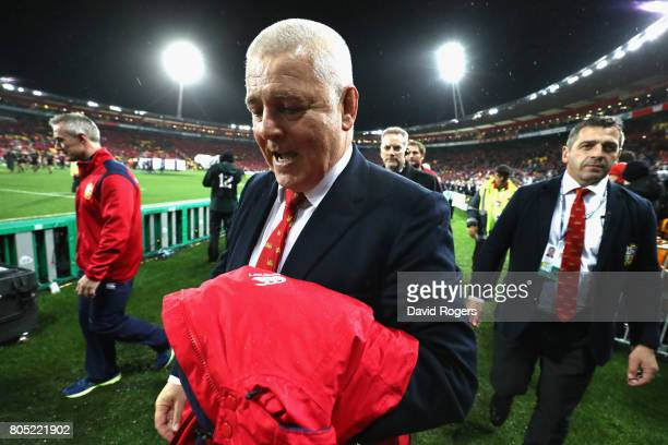 Warren Gatland the Lions head coach celebrates after his teams victory during the match between the New Zealand All Blacks and the British Irish...