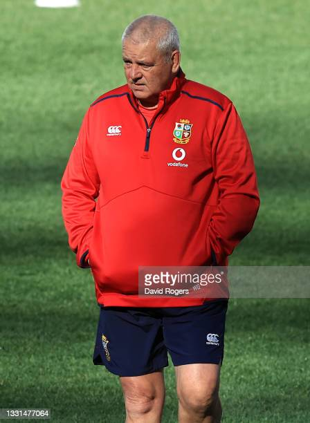 Warren Gatland, the Lions head coach, looks on during the British & Irish captain's run at Cape Town Stadium on July 30, 2021 in Cape Town, South...
