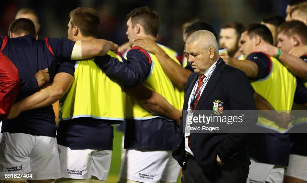 Warren Gatland the Lions head coach looks on during the match between the New Zealand Provincial Barbarians and the British Irish Lions at Toll...