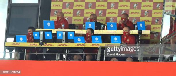 Warren Gatland, the Lions head coach looks on with his management staff during the 2nd test match between South Africa Springboks and the British &...