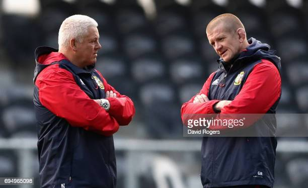 Warren Gatland, the Lions head coach looks on with scrum coach Graham Rowntree during the British & Irish Lions captain's run held at the Forsyth...