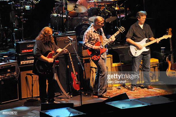 Warren Haynes and Derek Trucks of The Allman Brothers Band and Eric Clapton perform in concert at the Beacon Theater on March 19 2009 in New York City