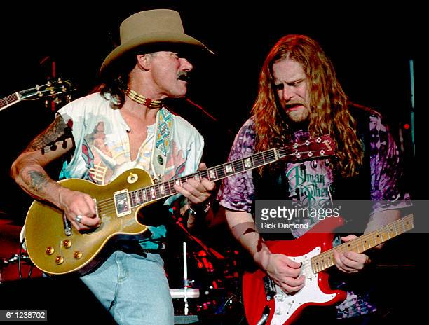 Warren Haynes and Dickey Betts of The Allman Brothers Band perform at Lakewood Amphitheater in Atlanta Georgia Circa 1993
