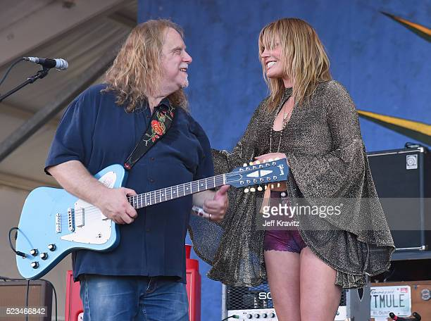Warren Haynes of Gov't Mule and Grace Potter perform onstage at 2016 New Orleans Jazz Heritage Festival at Fair Grounds Race Course on April 22 2016...