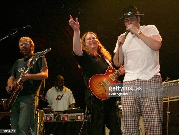 Warren Haynes, Trey Anastasio and John Popper playing together at the 2002 Jammy Awards presented by TDK at Roseland Ballroom in New York City. Oct....