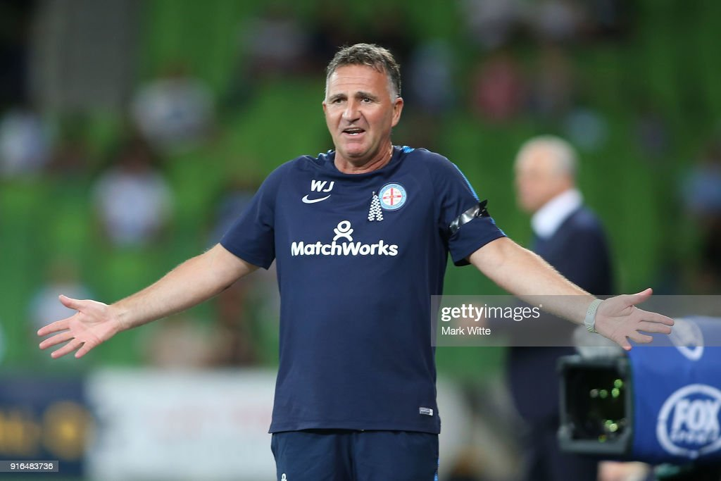 Warren Joyce of Melbourne City reacts to a decison during the round 20 A-League match between Melbourne City and Sydney FC at AAMI Park on February 10, 2018 in Melbourne, Australia.