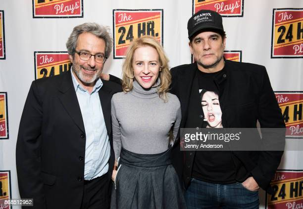 Warren Leight Amy Hargreaves and Yul Vasquez attend 24 Hour Plays on Broadway at American Airlines Theatre on October 30 2017 in New York City