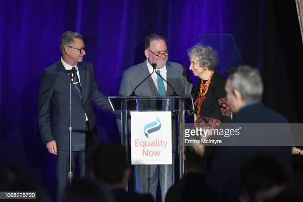 Warren Littlefield Bruce Miller and Margaret Atwood speak onstage at Equality Now's Make Equality Reality Gala 2018 at The Beverly Hilton Hotel on...