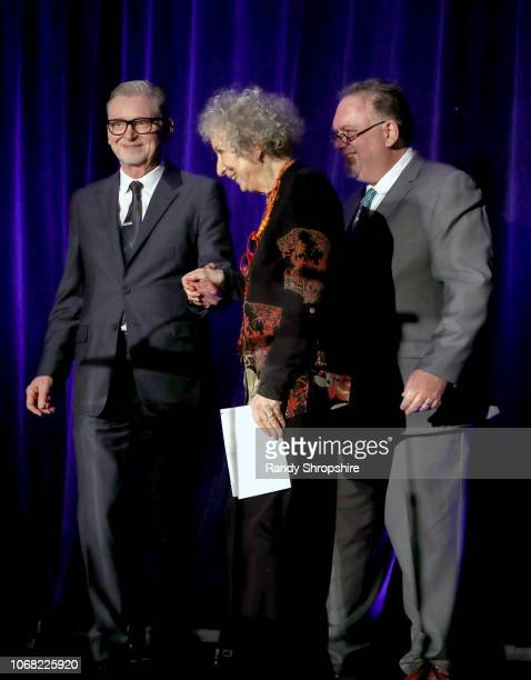 Warren Littlefield Margaret Atwood and Bruce Miller speak onstage at Equality Now's Make Equality Reality Gala 2018 at The Beverly Hilton Hotel on...