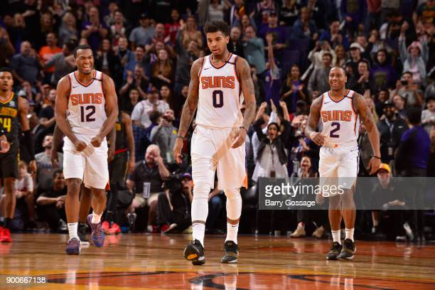 Warren Marquese Chriss and Isaiah Canaan of the Phoenix Suns react during game against the Atlanta Hawks on January 2 2018 at Talking Stick Resort...
