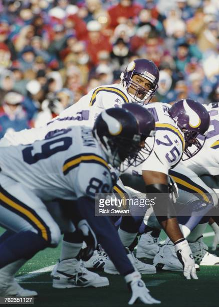 Warren Moon Quarterback for the Minnesota Vikings calls an audible at the line of scrimmage during the National Football Conference West game against...