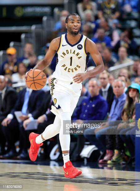 J Warren of the Indiana Pacers dribbles the ball against the Minnesota Timberwolves at Bankers Life Fieldhouse on October 15 2019 in Indianapolis...