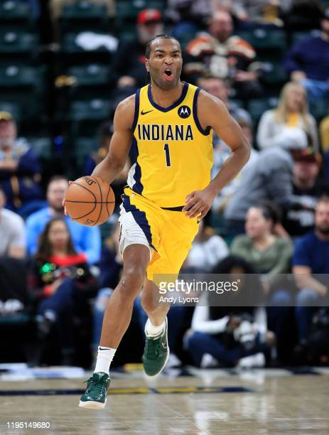 J Warren of the Indiana Pacers dribbles the ball against the Sacramento Kings at Bankers Life Fieldhouse on December 20 2019 in Indianapolis Indiana...