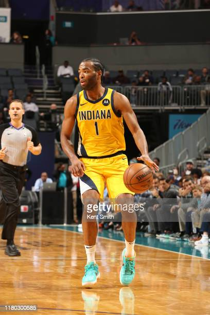 J Warren of the Indiana Pacers handles the ball against the Charlotte Hornets on November 5 2019 at Spectrum Center in Charlotte North Carolina NOTE...