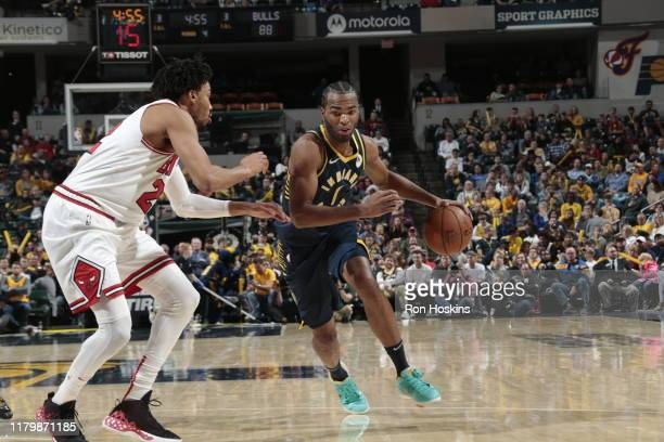 J Warren of the Indiana Pacers handles the ball against the Chicago Bulls on November 3 2019 at Bankers Life Fieldhouse in Indianapolis Indiana NOTE...