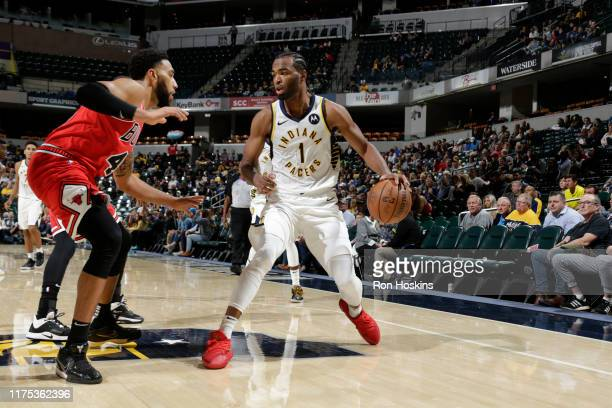 J Warren of the Indiana Pacers handles the ball against the Indiana Pacers during a preseason game on October 11 2019 at Bankers Life Fieldhouse in...