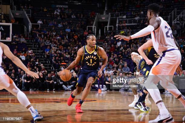 J Warren of the Indiana Pacers handles the ball against the Phoenix Suns on January 22 2020 at Talking Stick Resort Arena in Phoenix Arizona NOTE TO...