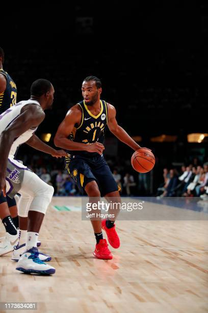 J Warren of the Indiana Pacers handles the ball against the Sacramento Kings on October 4 2019 at NSCI Dome in Mumbai India NOTE TO USER User...