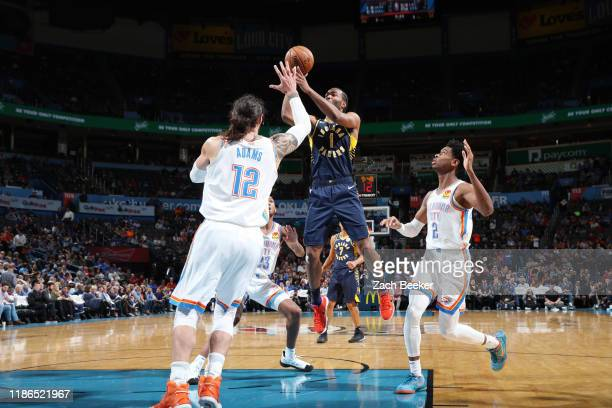 J Warren of the Indiana Pacers shoots the ball against the Oklahoma City Thunder on December 4 2019 at Chesapeake Energy Arena in Oklahoma City...