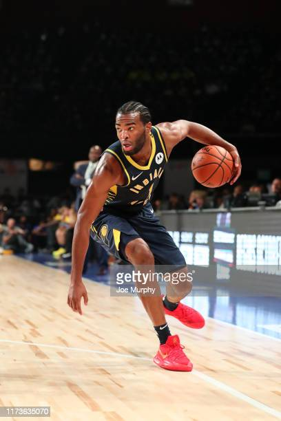 J Warren of the Indiana Pacers shoots the ball against the Sacramento Kings on October 4 2019 at NSCI Dome in Mumbai India NOTE TO USER User...