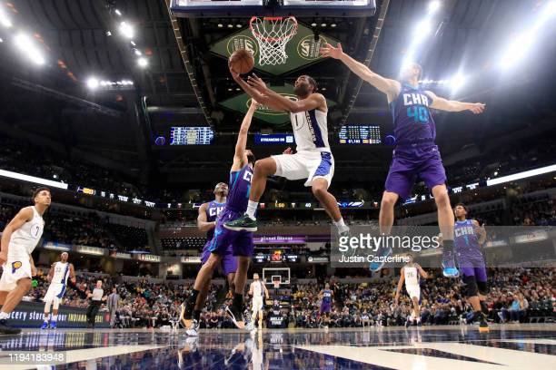 Warren of the Indiana Pacers takes a shot in the game against the Charlotte Hornets during the second quarter at Bankers Life Fieldhouse on December...