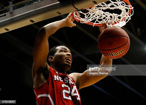 J Warren of the North Carolina State Wolfpack dunks against the Xavier Musketeers in the second half during the first round of the 2014 NCAA Men's...