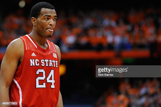 J Warren of the North Carolina State Wolfpack looks on against the Syracuse Orange during the second half at the Carrier Dome on February 15 2014 in...