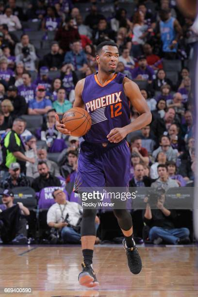 Warren of the Phoenix Suns brings the ball up the court against the Sacramento Kings on April 11 2017 at Golden 1 Center in Sacramento California...