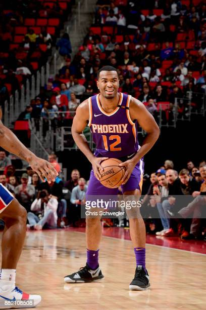 Warren of the Phoenix Suns handles the ball against the against the Detroit Pistons on November 29 2017 at Little Caesars Arena in Detroit Michigan...