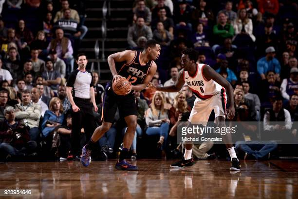 Warren of the Phoenix Suns handles the ball against the Portland Trail Blazers on February 24 2018 at Talking Stick Resort Arena in Phoenix Arizona...