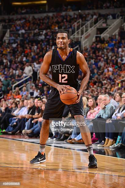 J Warren of the Phoenix Suns handles the ball during the game against the Golden State Warriors on November 27 2015 at US Airways Center in Phoenix...