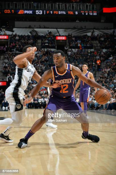 Warren of the Phoenix Suns handles the ball during the game against the San Antonio Spurs on November 5 2017 at the ATT Center in San Antonio Texas...