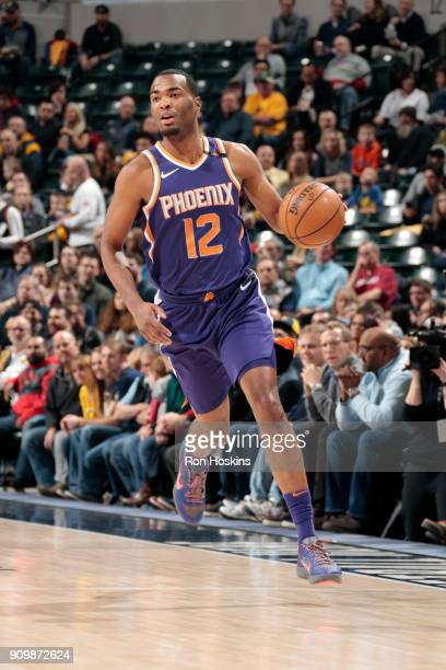 Warren of the Phoenix Suns handles the ball during the game against the Indiana Pacers on January 24 2018 at Bankers Life Fieldhouse in Indianapolis...