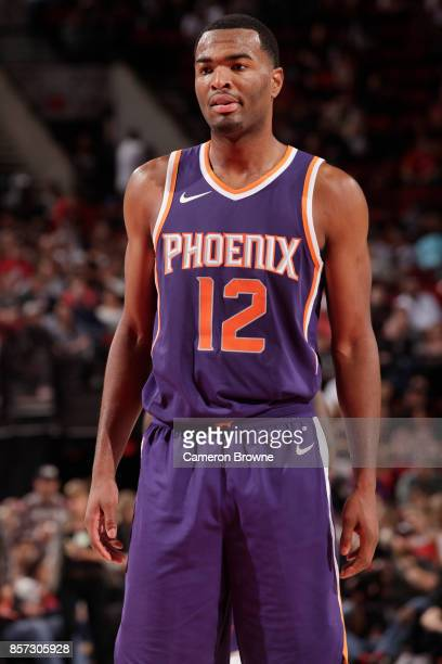 Warren of the Phoenix Suns looks on during a preseason game against the Portland Trail Blazers on October 3 2017 at the Moda Center in Portland...