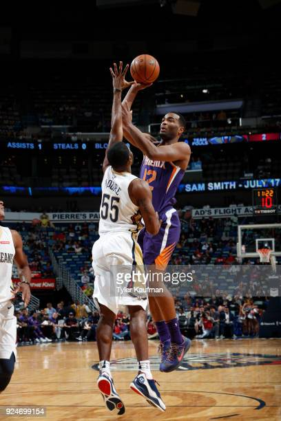 Warren of the Phoenix Suns shoots the ball against the New Orleans Pelicans on February 26 2018 at the Smoothie King Center in New Orleans Louisiana...