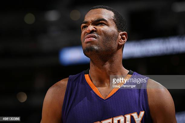 J Warren of the Phoenix Suns takes the court against the Denver Nuggets at Pepsi Center on November 20 2015 in Denver Colorado The Suns defeated the...