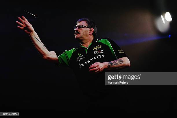 Warren Parry competes during Super League Darts Final between Warren Parry and Craig Caldwell at Sky City on August 1 2015 in Auckland New Zealand