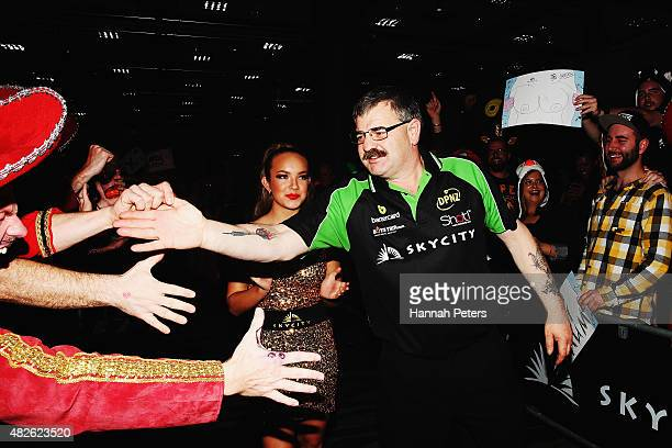 Warren Parry is welcomed by fans ahead of the Super League Darts Final between Warren Parry and Craig Caldwell at Sky City on August 1 2015 in...