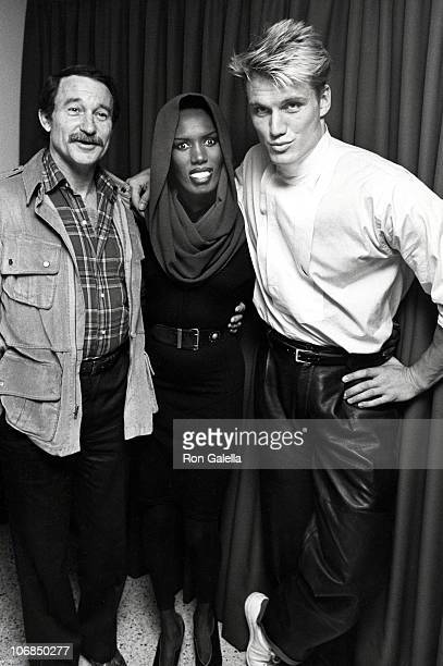 Warren Robinson Grace Jones and Dolph Lundgren during Grace Jones Sighting at Les Tuilieries Restaurant in New York City October 8 1985 at Les...
