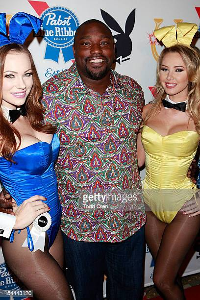 Warren Sapp poses at the Snoop Dogg Presents Colt 45 Works Every Time at The Playboy Mansion Party with Evan and Daren Metropulos on October 19 2012...