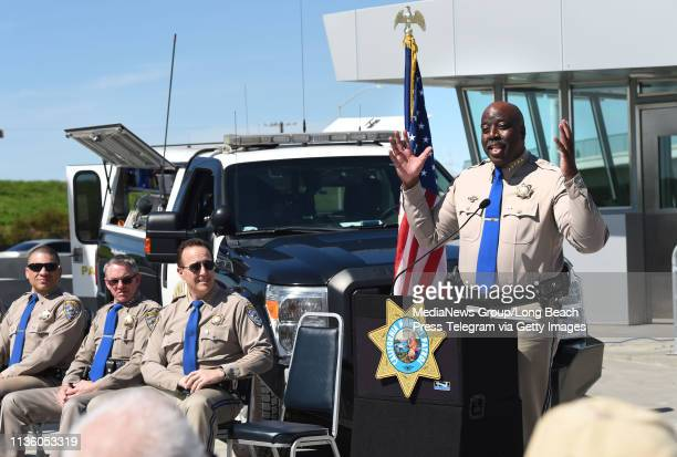 Warren Stanley, Commissioner, California Highway Patrol speaks during a press conference for the grand reopening of the Carson Scales, located on the...