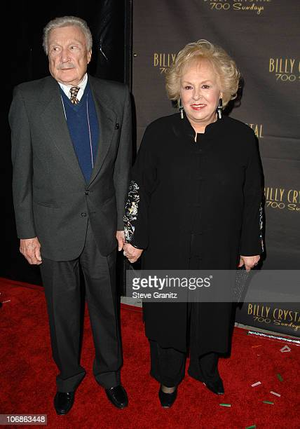 """Warren Stevens and Doris Roberts during Los Angeles Opening Night of The Tony Award Winning Broadway Show Billy Crystal """"700 Sundays"""" at Wilshire..."""