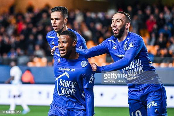 Warren Tchimbembe Of Troyes Celebrates A Goal With Jimmy Giraudon Of Nachrichtenfoto Getty Images