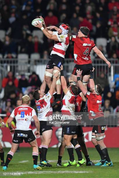 Warren Whiteley of the Lions and Scott Barrett of the Crusaders compete for a lineout during the Super Rugby Final match between the Crusaders and...
