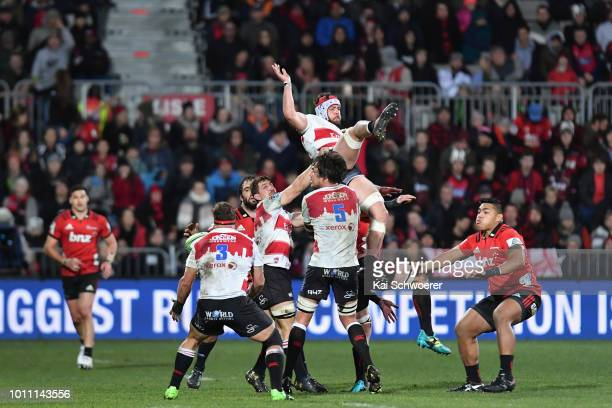 Warren Whiteley of the Lions competes for a lineout during the Super Rugby Final match between the Crusaders and the Lions at AMI Stadium on August 4...