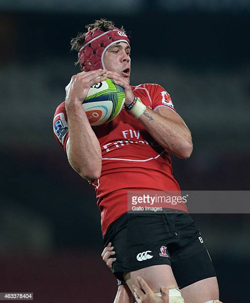 Warren Whiteley of the Lions wins the lineout during the Super Rugby match between Emirates Lions and Hurricanes at Emirates Airline Park on February...