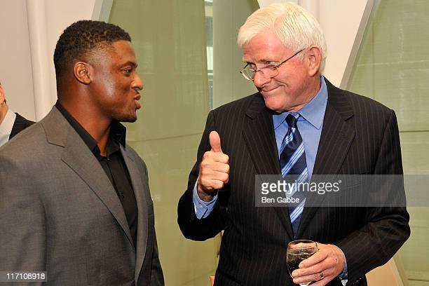 Warrick Dunn and Phil Donahue attend the 2011 Jefferson Awards for Public Service at Le Cirque on June 22 2011 in New York City