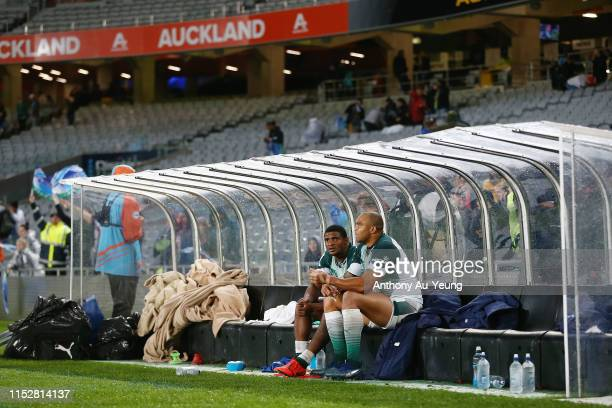 Warrick Gelant and Cornal Hendricks of the Bulls look on after the round 16 Super Rugby match between the Blues and the Bulls at Eden Park on May 31...
