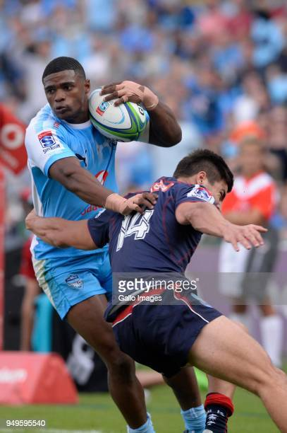 Warrick Gelant of the Bulls and Jack Maddocks of the Rebels during the Super Rugby match between Vodacom Bulls and Rebels at Loftus Versfeld on April...