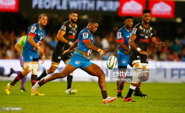 Warrick Gelant of the Vodacom Bulls during the Super Rugby match between Cell C Sharks and Vodacom Bulls at Jonsson Kings Park Stadium on January 20...